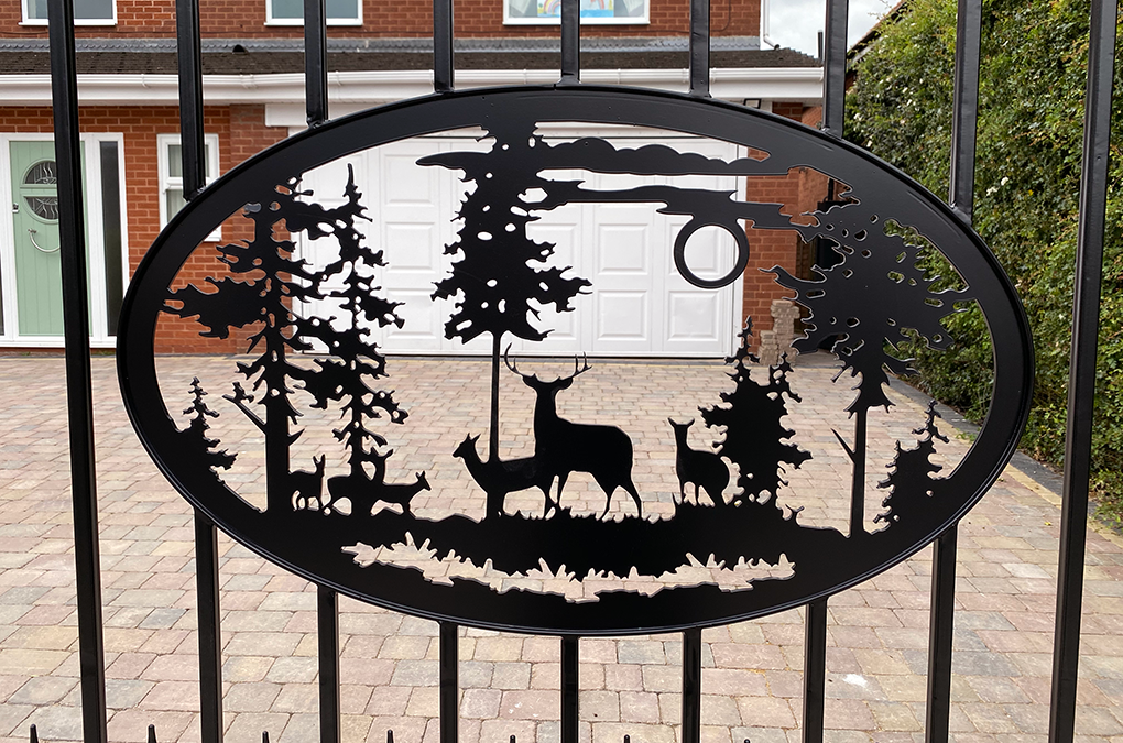 Steel Gates with Bespoke Deer Scene